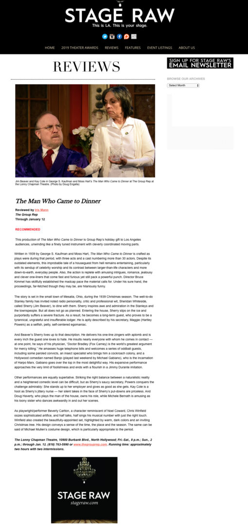 Stage Raw Review of The Man Who Came to Dinner